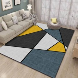 Tapis salon 3D motif geometrique multicolore