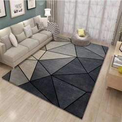 Tapis salon 3D motif geometrique ton de gris