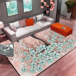 tapis salon 3D motif japonais cerisier bleu