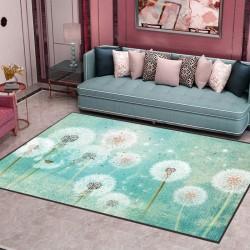 Tapis salon 3D motif jardin de pissenlit fond turquoise