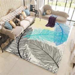 11.19 Tapis salon 3D motif plume gris bleu fond clair