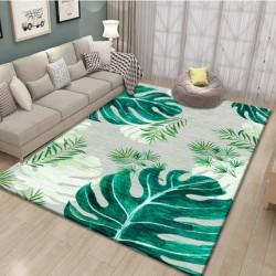 M03.20 Tapis salon 3D motif feuille tropicale verte