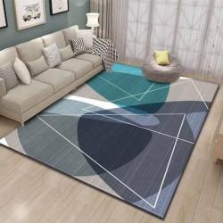 Tapis salon 3D motif geometrique ton de bleu