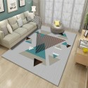 Tapis salon 3D motif triangles  gris turquoise fond gris pastel