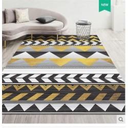 Tapis salon 3D motif graphique azteque jaune et noir