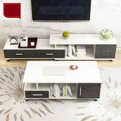 M03.20 Meuble TV etirable 1 porte 2 tiroirs noir et blanc