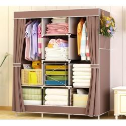 E04.20 armoire demontable vetement double penderie etagere centrale beige