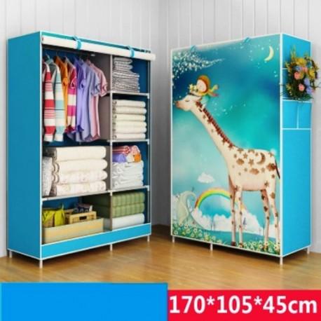 armoire demontable vetement monde animal bleu