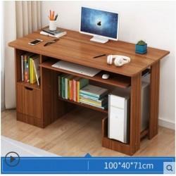 Table ordinateur 1 tiroir 2 etageres marron 1M