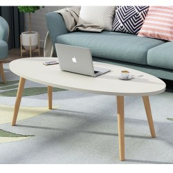E04.20 Table basse scandinave ovale 1M Blanc
