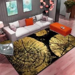 E06.20 Tapis salon 3D motif rondelle bois dore fond noir
