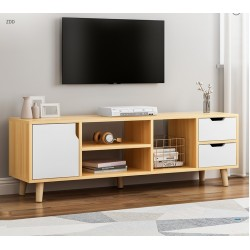 E06.20 Meuble TV scandinave 1 porte 2 tiroirs blanc 140CM