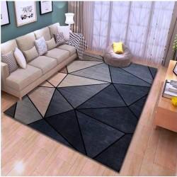 M03.20 Tapis salon 3D motif geometrique ton de  bleu gris