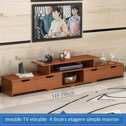 Meuble TV etirable 4 tiroirs etagere simple marron uni