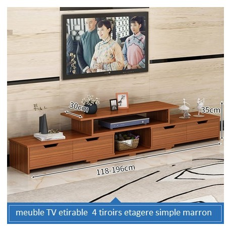 Meuble TV etirable 4 tiroirs etagere simple marron uni