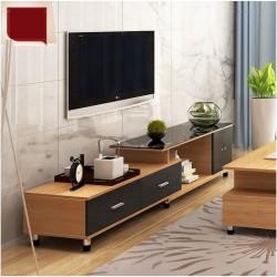 E03.20 Meuble TV etirable 1 porte 2 tiroirs vitre