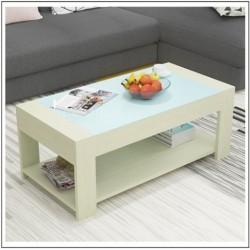 E03.20 Table basse rectangulaire blanc vitre blanc 1M