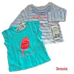 t-shirt bleu ciel+brassiere manche longue raye bleu gris TAPE A L'OEIL