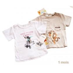 t-shirt DISNEY rayure beige + t-shirt TAPE A L'OEIL blanc