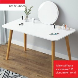 Table coiffeuse scandinave 1M blanc miroir rond