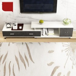 RABAIS A Meuble TV etirable 1 porte 2 tiroirs noir et blanc