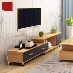 RABAIS B Meuble TV etirable 1 porte 2 tiroirs neutre et noir