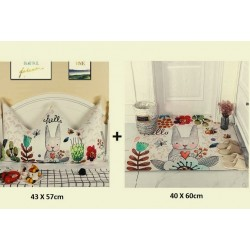 ensemble oreiller couronne bebe + tapis assorti HELLO