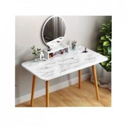 Table coiffeuse scandinave blanc effet marbre miroir rond 120CM