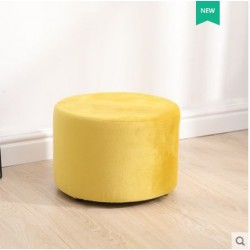 Tabouret deco rond velour jaune