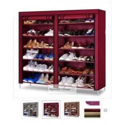 05.19 rangement chaussure double 36 paires bordeau pied plat