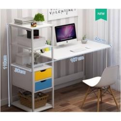 Table de bureau avec bibliotheque blanc 2 tiroirs colore 107CM