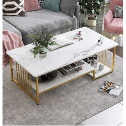 Table basse rectangulaire 3 niveaux  blanc effet marbre support metallique dore 120cm