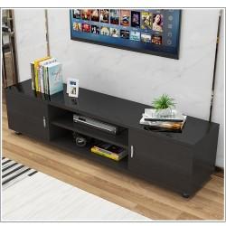 Meuble TV melamine style moderne 2 portes noir vitre noir 160cm