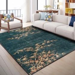 Tapis salon 3D motif feuille bamboo fond bleu chine