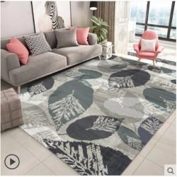 Tapis salon 3D motif feuille ambiance grisatre
