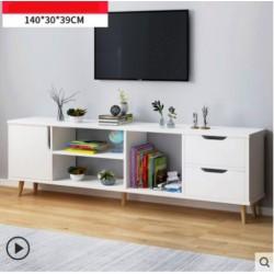 M07.20 Meuble TV scandinave 1 porte 2 tiroirs blanc 140cm