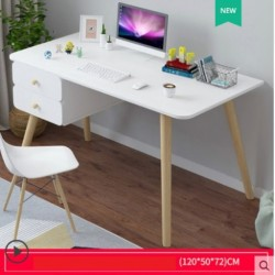 Table de bureau scandinave avec 2 tiroirs blanc 1M