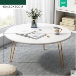 Table basse  ronde  blanc  trepieds metallique   60x30cm
