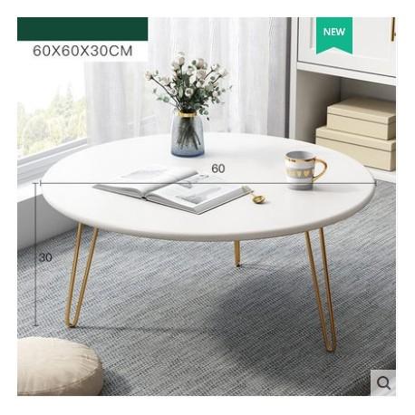 Table basse ronde trepieds metallique dore blanc 60x30cm