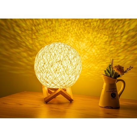 Lampe veilleuse LED 3D lune en rotin 15cm jaune