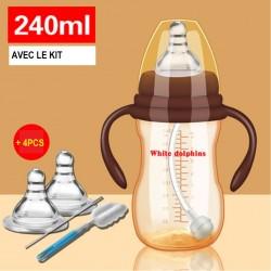 B08.20 kit biberon plastique 240ml avec manche en paille 0-18mois WHITE DOLPHINS+2tetines+1brosse