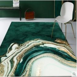 Tapis salon 3D motif geode fond vert malachite 160X230CM