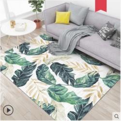 Tapis salon 3D motif feuille bananier fond clair 160X230CM