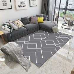 Tapis salon 3D motif graphique losange gris et blanc 160X230CM