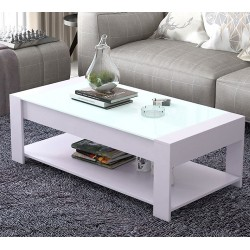 M07.20 Table basse rectangulaire blanc vitree blanc 1M