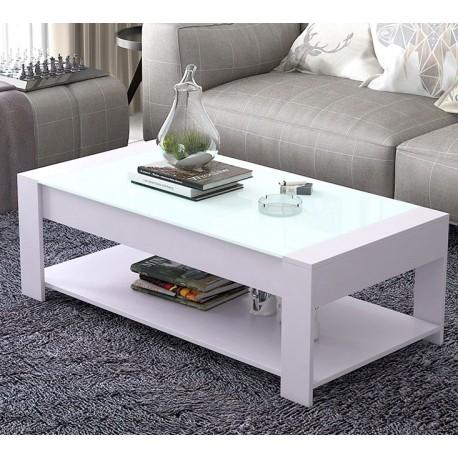 table basse rectangulaire  design  vitre noir