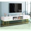 Meuble TV luxe 2 tiroirs blanc effet marbre support metallique vert