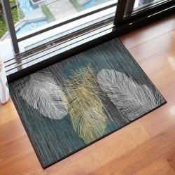 Tapis d entree motif plume turquoise fond sombre 40X60CM