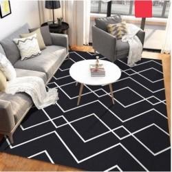 Tapis salon 3D motif graphique losange noir et blanc 200X300CM