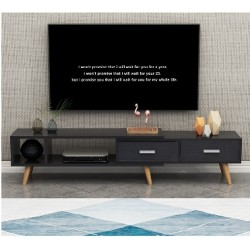 Table tv scandinave haut étirable noir